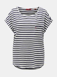 Bílo-modré dámské pruhované oversize tričko s.Oliver