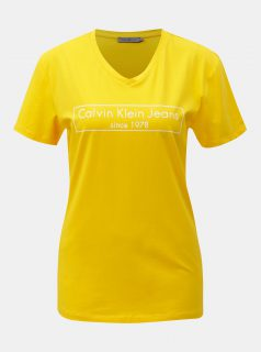 Žluté dámské tričko s potiskem Calvin Klein Jeans