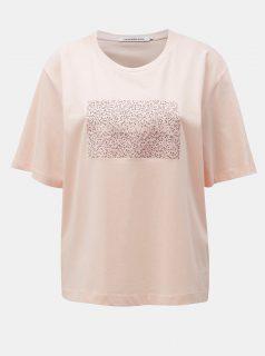 Růžové dámské volné tričko s potiskem Calvin Klein Jeans
