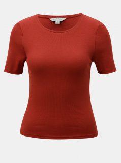 Cihlové žebrované tričko s krátkým rukávem Miss Selfridge