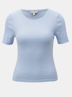 Světle modré žebrované tričko s krátkým rukávem Miss Selfridge