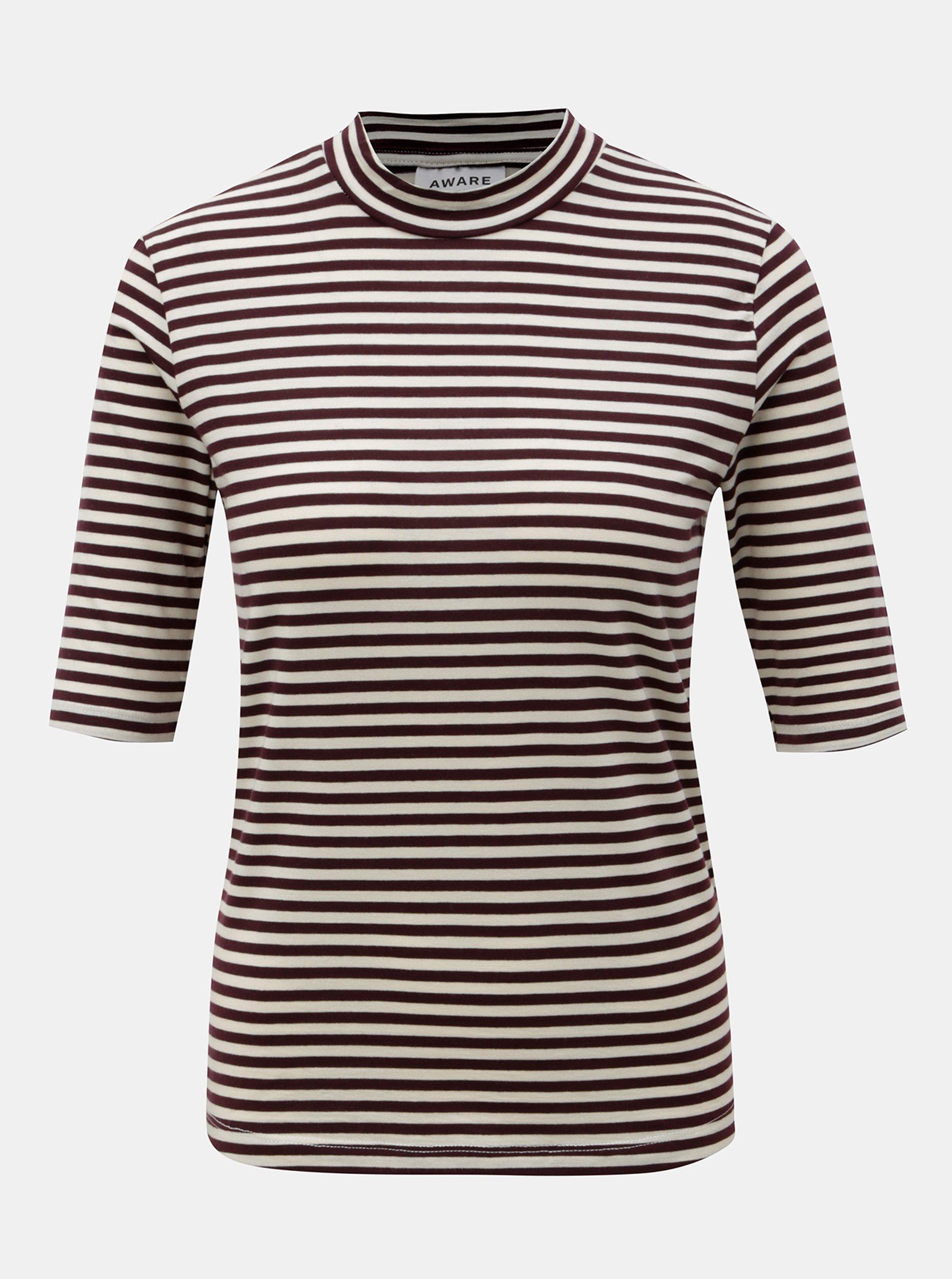 Béžovo-vínové pruhované tričko se stojáčkem VERO MODA Ecie