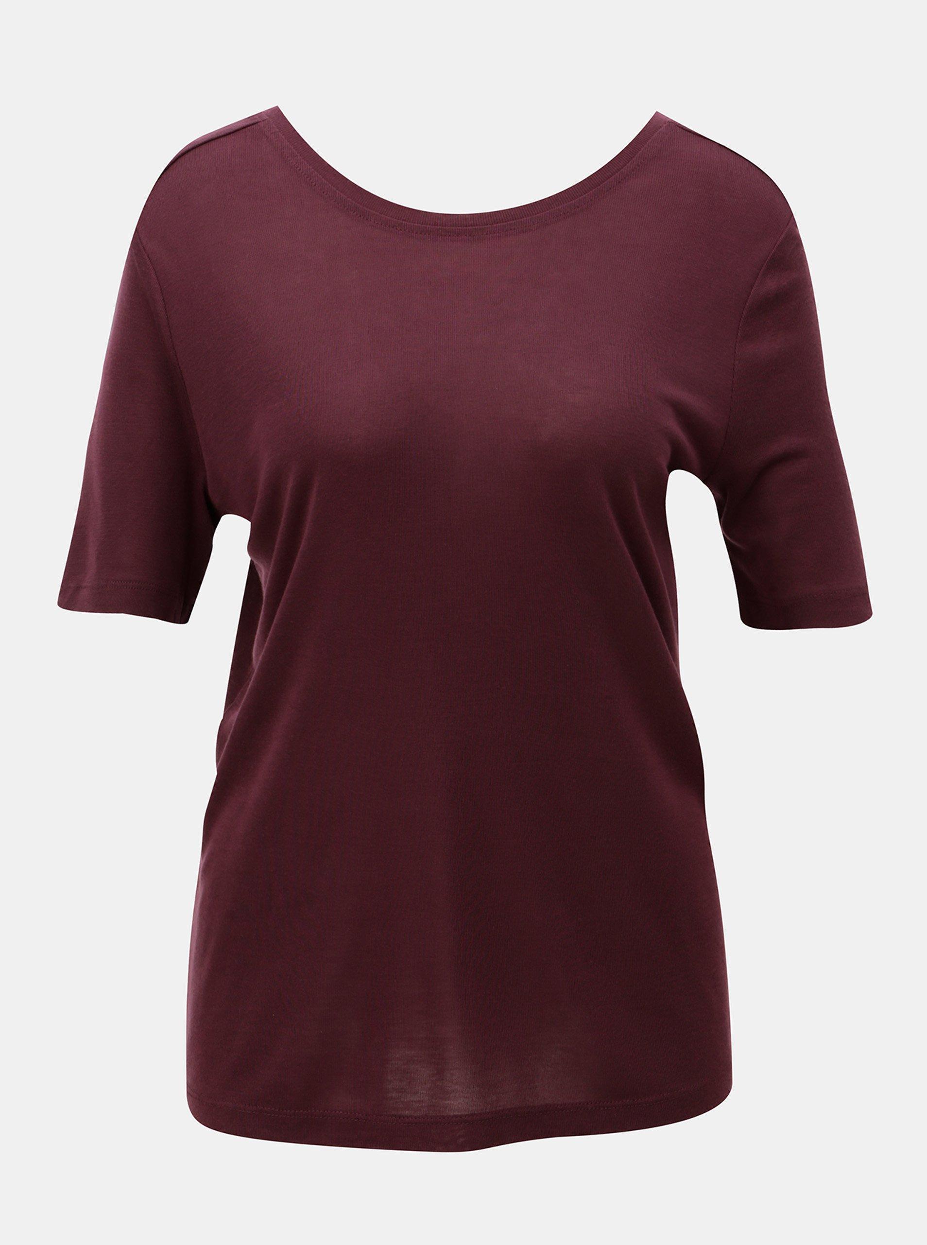 Vínové basic tričko s kulatým výstřihem VERO MODA Ecie