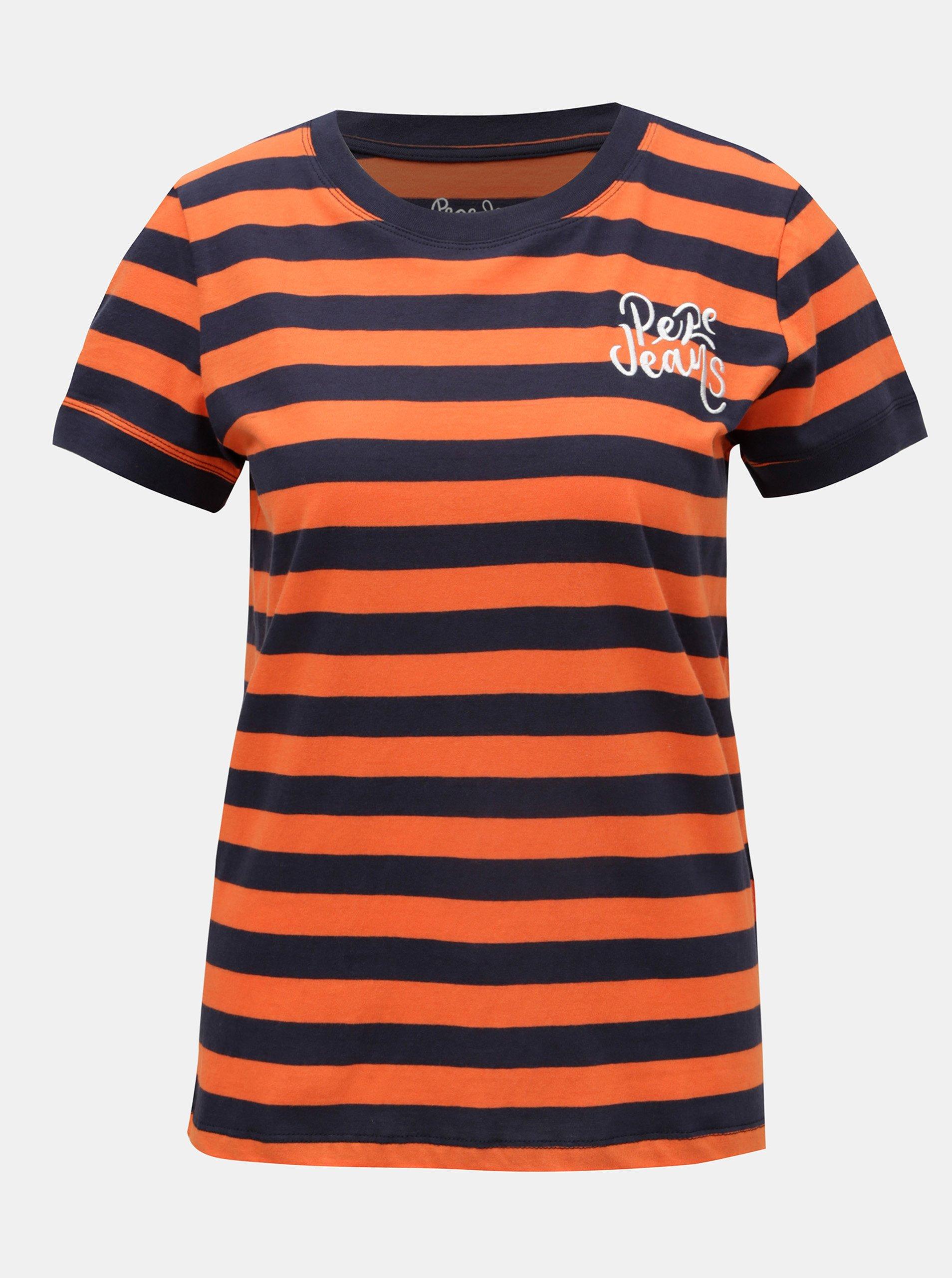 Modro-oranžové dámské pruhované tričko s výšivkou Pepe Jeans