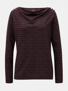 Tmavě fialové vzorované tričko s knoflíky na ramenou SKFK Lantz
