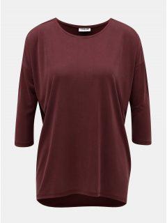 Vínové basic volné tričko s prodlouženou zadní částí Noisy May Allen