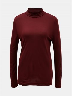 Vínové tričko s rolákem a s příměsí vlny Selected Femme Johanna