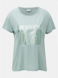 Mentolové tričko s potiskem a semišovým nápisem Jacqueline de Yong Roa