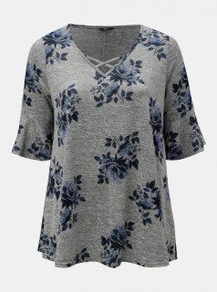 Šedé květované tričko M&Co Plus