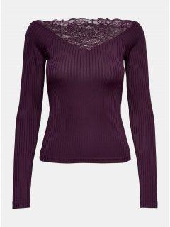 Vínové žebrované tričko s krajkovými detaily Jacqueline de Yong Rine