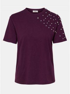 Fialové tričko s krátkým rukávem a korálkovou aplikací Jacqueline de Yong Bugs