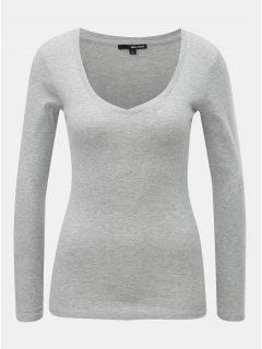 Světle šedé žíhané basic tričko s dlouhým rukávem TALLY WEiJL