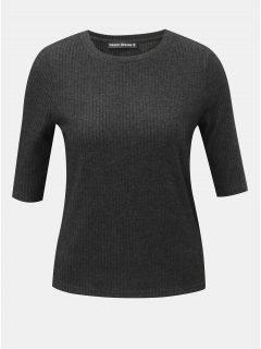 Tmavě šedé žebrované tričko s 3/4 rukávem TALLY WEiJL