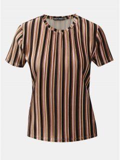 Černo-hnědé pruhované žebrované sametové tričko TALLY WEiJL