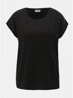Černé puntíkované volné tričko s krátkým rukávem VERO MODA AWARE Plain