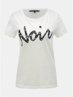 Bílé tričko s krajkovou nášivkou VERO MODA Loving
