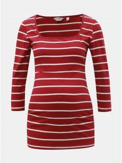 Červené pruhované těhotenské tričko Dorothy Perkins