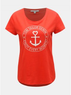 Červené dámské tričko s potiskem Tom Tailor Denim