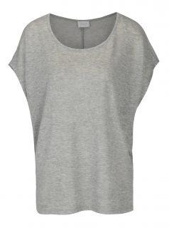 Šedé volné žíhané basic tričko VILA Sumi