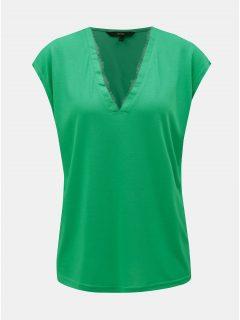 Zelené tričko s krajkovými detaily VERO MODA Carrie
