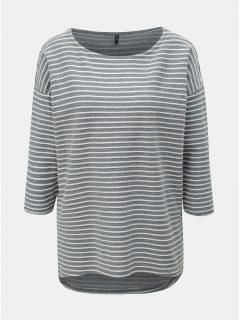 Bílo-šedé pruhované tričko s 3/4 rukávem ONLY Elly