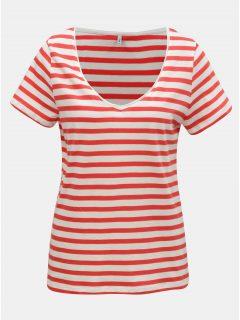 Bílo-červené pruhované basic tričko ONLY Brave