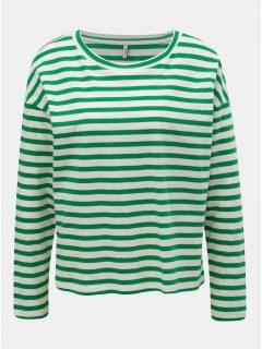 Bílo-zelené pruhované tričko ONLY Brave