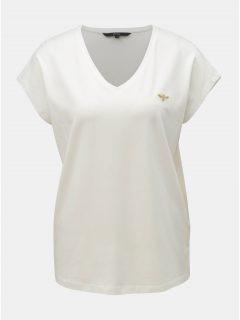 Krémové tričko s výšivkou VERO MODA Clia