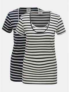 Sada dvou pruhovaných kojicích triček v bílé a modré barvě Mama.licious Lea