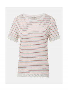 Bílé dámské pruhované tričko s krajkou Tom Tailor Denim