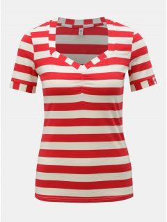 Bílo-červené pruhované tričko Blutsgeschwister Logo Stripe