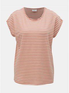 Bílo-oranžové pruhované basic tričko VERO MODA AWARE Ava