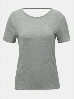 Šedé tričko s průstřihem na zádech Noisy May