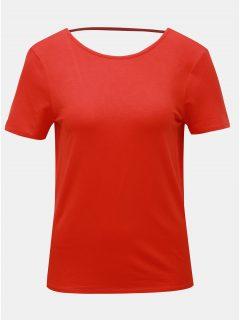 Červené tričko s průstřihem na zádech Noisy May