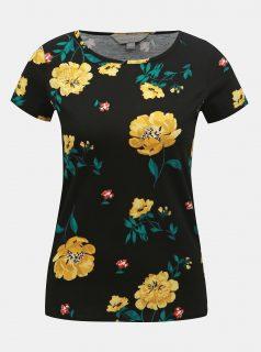 Černé květované tričko Dorothy Perkins Petite