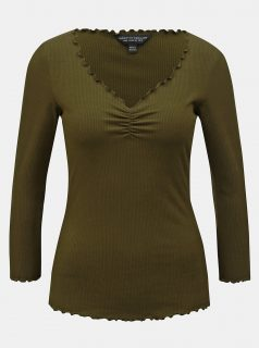 Khaki žebrované tričko s 3/4 rukávem Dorothy Perkins