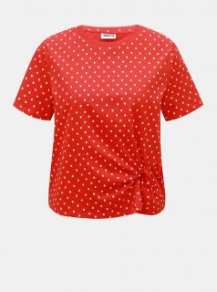 Červené puntíkované tričko Noisy May Bine
