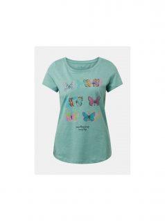 Zelené dámské pruhované tričko s potiskem Tom Tailor