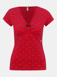 Červené vzorované tričko Blutsgeschwister Lucky Frontluke