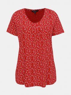 Červené květované tričko Ulla Popken