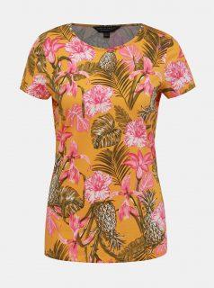 Oranžové květované tričko Dorothy Perkins