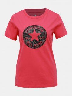 Tmavě růžové dámské tričko s potiskem Converse