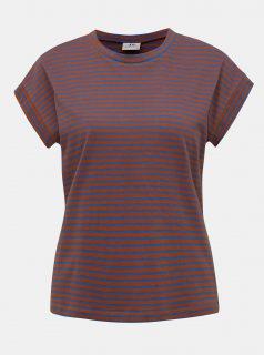 Modro-hnědé pruhované tričko Jacqueline de Yong Ditte