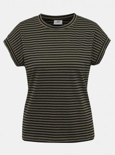 Khaki pruhované tričko Jacqueline de Yong Ditte