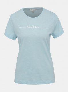Světle modré dámské tričko s potiskem Tommy Hilfiger Elissa