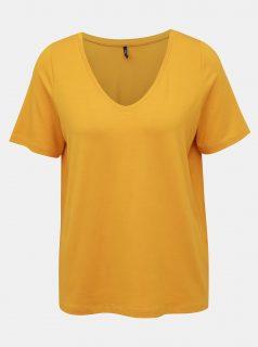 Žluté volné basic tričko ONLY Moster