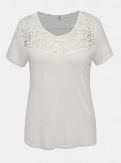 Bílé tričko s krajkou ONLY Alba