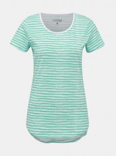 Tyrkysovo-bílé dámské vzorované tričko LOAP Aderina