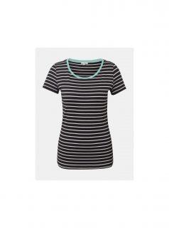 Černé dámské pruhované basic tričko Tom Tailor