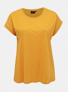 Hořčicové basic tričko Zizzi Katja